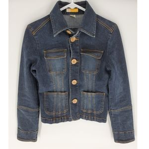 Tulle denim jacket anthropologie small fitted